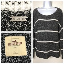 Hollister Striped Heathered Gray Pullover Cotton Generous Womens L Sweater Top