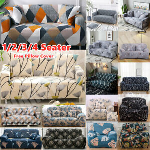 FLORAL 1/2/3 Seater Stretch Sofa Slipcovers Couch Armchair Cover Free Pillowcase