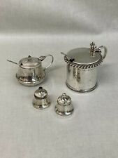 More details for sterling silver condiment dish set salt and pepper shaker hallmarked dining