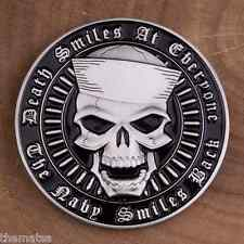 "DEATH SMILES AT EVERYONE THE NAVY SMILES BACK SKULL 1.75""  CHALLENGE COIN"