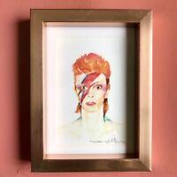 David Bowie Aladdin Sane Ziggy Watercolour Print Art Painting Pink Frame 6x8