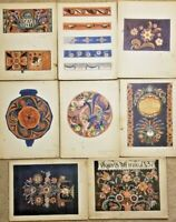 "8 Color Prints Norwegian Designs ""old rosemaling In Rogaland"" Portfolio Folder 3"