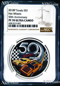 2018 HOT WHEELS 50th Anniversary SILVER PROOF $1 1oz COIN NGC PF70 Brown Label