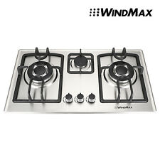 """New listing Windmax 28"""" Stainless Steel 3 Burner Built-In Stove Cooktop Ng Gas Hob Cooker,Us"""