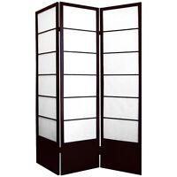 HONGVILLE Wood Framed Room Divider 3 Panel, Cherry/Espresso