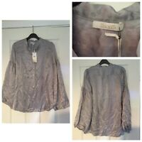 Bel Air Grey Silk Long Sleeve Blouse Top Floral Size T1 Medium M (A539)