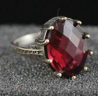 925 Sterling Silver Handmade Gemstone Turkish Ruby Ladies Ring Size 7-9