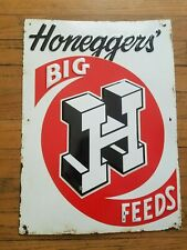 Honeggers Big H Feeds Embossed Tin Sign Farm Cow Pig Vintage Original 1950s old