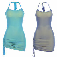 Women's Lace-Up Halter Neck Drawstring Side Bodycon Dress Party Night Club Dress