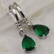 Simple Hot Emerald Green Drip Gems Jewelry Gold Filled Hoop Woman Earrings h2828