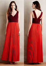 ANTHROPOLOGIE NWT Roja Maxi Dress Red Burgundy Pleated RARE Sz 12 Large $278