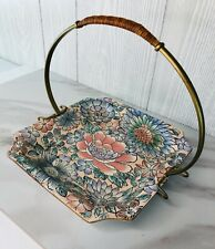 Vintage Floral Asian Inspired Square Decorative Plate Bowl Basket With Handle
