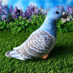 Simulation Pigeon Plush Toy Realistic Soft Stuffed Bird Blue 27cm Kids Xmas Gift