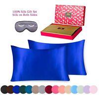 BlueHills 100% Pure Mulberry Silk Pillowcase 3 piece Gift Set Queen Royal blue