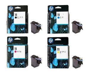 4 X TESTINA DI STAMPA Set HP DesignJet 100 110 PLUS 500 800 nr. 11 BK/C/M/Y