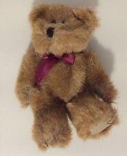 """Boyds small Bear 6"""" plush w/purple bow (1990-97)"""
