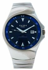 Elgin Steel FG052 Mens Over size Analog Date Teal Drk Blue Stainless Steel Watch