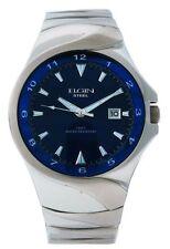 Elgin Steel FG052 Mens Oversized Analog Date Teal Drk Blue Stainless Steel Watch