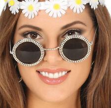 Strass Argento Occhiali da sole rotondi FESTIVAL Boho Hippy Anni 60 Costume