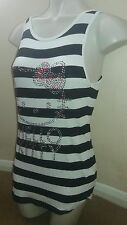 M&S Hello Kitty Girls Age 11 Years Black White Stripe Long Strappy Top Summer