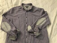 Kenneth Cole Reaction Purple White Grey Elbow Patch Checkered Button Down Size M