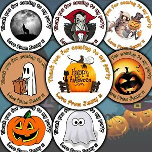 Sheet of Personalised Halloween Party Stickers Labels Thank You For Coming