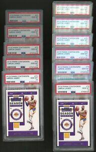 Lot of (11) 2019 Panini Contenders Season Ticket #70 Lebron James Lakers PSA 10