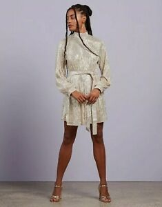 Missguided High Neck Balloon Sleeve Dress  - Champagne Size 16
