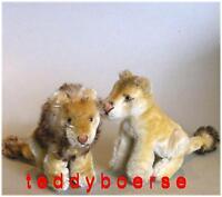 STEIFF Löwenpaar • Leo + Lea •  ohne Knopf  •   11/12 cm  • 50/60er Jahre •