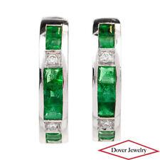Estate Diamond 1.04ct Emerald 18K White Gold Hoop Earrings 5.2 Grams NR