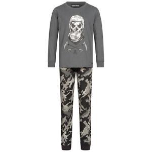 FORTNITE Skull Trooper Kinder Jungen Camo Pyjama 2-teilig FORT-3-1216 grau neu