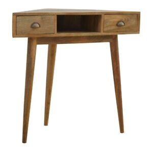 Solid Caramel Wood Compact Triangle Corner Table Desk Unit with Drawers