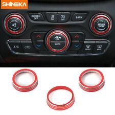 3x Car Audio+Air Conditioner Switch Button Ring Trim for Dodge Durango 2014-2019