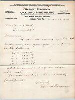 1924 RIDLEY PARK PA*BASSETT FERGUSON OAK & PINE PILING LUMBER*TOWNSEND DELAWARE