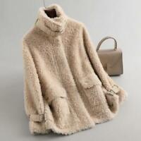 Damen Shearling Kaschmirjacke Stehkragen Warm Lammwolle Mode Kurzmantel Winter L