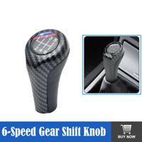 6 Speed Carbon Fiber Gear Shift Knob M Sport Leather For BMW E36 E39 E46 E90 E91