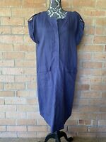 Sportscraft Pure Linen Shift Dress Tunic With Pockets Blue Relaxed Size 14