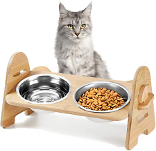 Height-Adjustable Cat Bowl,Solid Bamboo Frame Raised Cat Food Bowls anti Vomitin