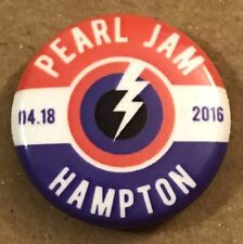Pearl Jam Hampton VA Button Pin Badge 2016 Vedder April 18 04/18 Virginia