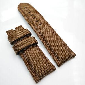 22mm Brown Canvas Genuine Leather Brown Stitch PAM Strap for RADIOMIR LUMINOR