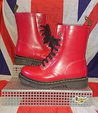 Drench*Bright Cherry Red  Rubber Dr Doc Martens*Wellingtons*Skingirl Punk Goth*4