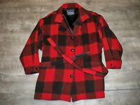 Vintage Woolrich Buffalo Plaid Wool Hunting Barn Field Coat Jacket Women's Large