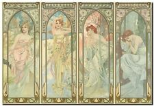 "Alphonse Mucha CANVAS PRINT Times of Day Vintage Art painting poster 24""X18"""