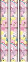 3x UNICORN GIFT WRAP PAPER PINK PRESENT WRAPPING CHRISTMAS BIRTHDAY PARTY KIDS