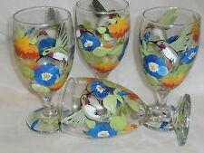 HAND PAINTED HUMMINGBIRD/MORNING GLORIES/FUCHIA ICE TEAS / SET OF 4-