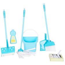 10pc DELUXE Childs CLEANING SET Kids MOP BROOM Toddler preschool kids Boys BLUE