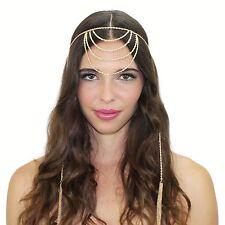 Gold Crystal Chain Grecian Tassel Headpiece Headband Indian Inspired