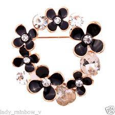 New Jewelry Black Flower Shape Rhinestone Inlay Cute Rose Golden Pretty Brooch