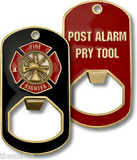 FIRE FIGHTER POST ALARM PRY TOOL DOG TAG BOTTLE OPENER CHALLENGE COIN