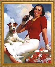 Coca-Cola: Lady and her Dog. Framed Vintage 50s Pin-Up Style AD Poster. Gold